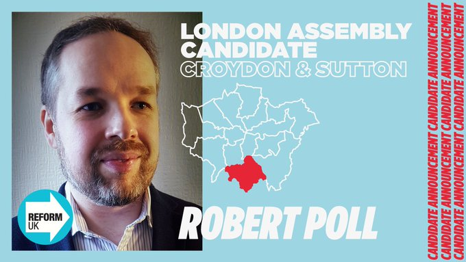 Robert Poll, Reform Party GLA candidate for Croydon and Sutton